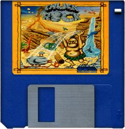 Cartridge artwork for Chuck Rock on the Commodore Amiga.