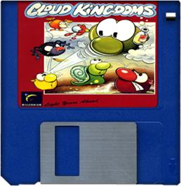 Cartridge artwork for Cloud Kingdoms on the Commodore Amiga.