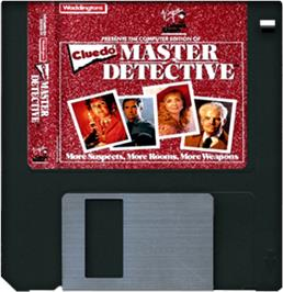Cartridge artwork for Clue: Master Detective on the Commodore Amiga.