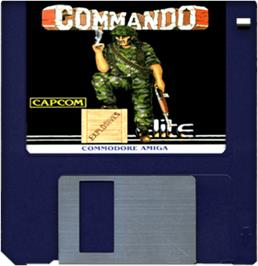 Cartridge artwork for Commando on the Commodore Amiga.