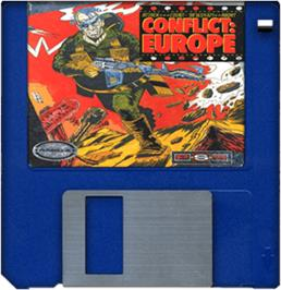 Cartridge artwork for Conflict: Europe on the Commodore Amiga.