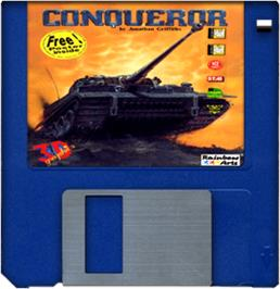 Cartridge artwork for Conqueror on the Commodore Amiga.