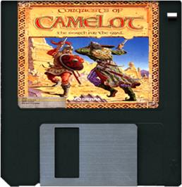 Cartridge artwork for Conquests of Camelot: The Search for the Grail on the Commodore Amiga.