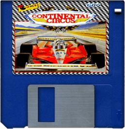 Cartridge artwork for Continental Circus on the Commodore Amiga.