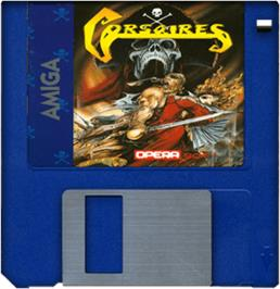 Cartridge artwork for Corsarios on the Commodore Amiga.