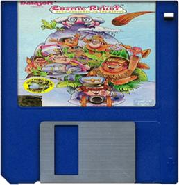 Cartridge artwork for Cosmic Relief: Prof. Renegade to the Rescue on the Commodore Amiga.