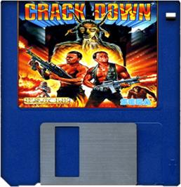 Cartridge artwork for Crack Down on the Commodore Amiga.
