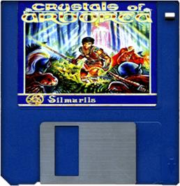 Cartridge artwork for Crystals of Arborea on the Commodore Amiga.