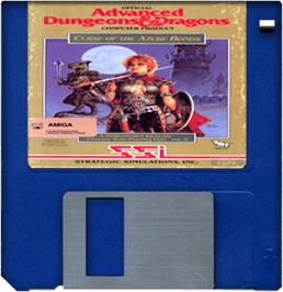 Cartridge artwork for Curse of the Azure Bonds on the Commodore Amiga.