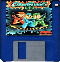 Cartridge artwork for CyberPunks on the Commodore Amiga.