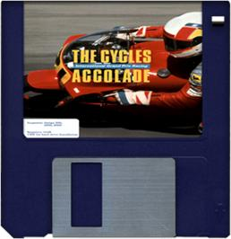 Cartridge artwork for Cycles: International Grand Prix Racing on the Commodore Amiga.