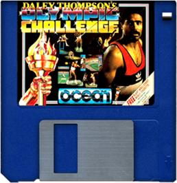 Cartridge artwork for Daley Thompson's Olympic Challenge on the Commodore Amiga.