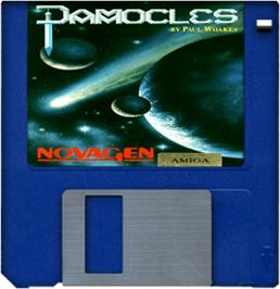 Cartridge artwork for Damocles: Mercenary 2 on the Commodore Amiga.
