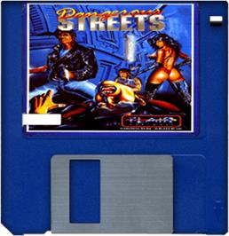 Cartridge artwork for Dangerous Streets on the Commodore Amiga.
