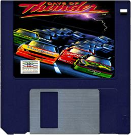 Cartridge artwork for Days of Thunder on the Commodore Amiga.