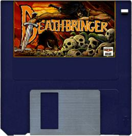 Cartridge artwork for Death Bringer on the Commodore Amiga.