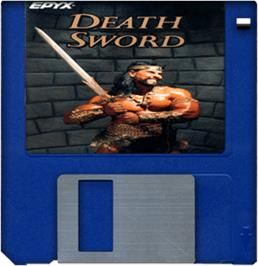 Cartridge artwork for Death Sword on the Commodore Amiga.