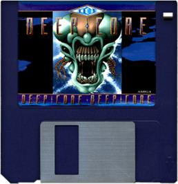 Cartridge artwork for Deep Core on the Commodore Amiga.