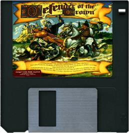 Cartridge artwork for Defender of the Crown on the Commodore Amiga.