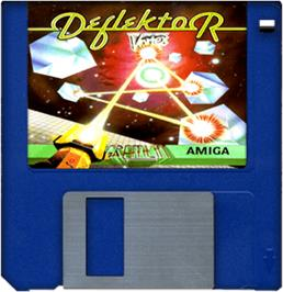 Cartridge artwork for Deflektor on the Commodore Amiga.
