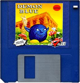 Cartridge artwork for Demon Blue on the Commodore Amiga.