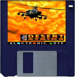Cartridge artwork for Desert Strike: Return to the Gulf on the Commodore Amiga.