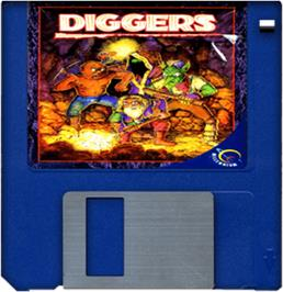 Cartridge artwork for Diggers on the Commodore Amiga.