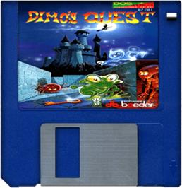 Cartridge artwork for Dimo's Quest on the Commodore Amiga.