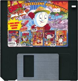 Cartridge artwork for Dizzy's Excellent Adventures on the Commodore Amiga.