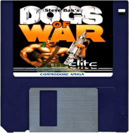 Cartridge artwork for Dogs of War on the Commodore Amiga.