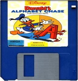 Cartridge artwork for Donald's Alphabet Chase on the Commodore Amiga.