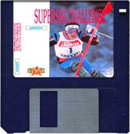 Cartridge artwork for Downhill Challenge on the Commodore Amiga.