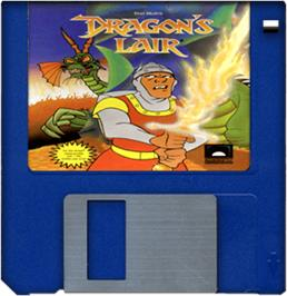 Cartridge artwork for Dragon's Lair on the Commodore Amiga.