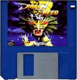 Cartridge artwork for Dragon Breed on the Commodore Amiga.