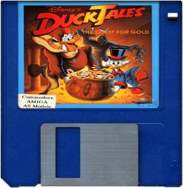 Cartridge artwork for Duck Tales: The Quest for Gold on the Commodore Amiga.