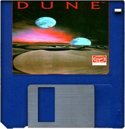 Cartridge artwork for Dune on the Commodore Amiga.