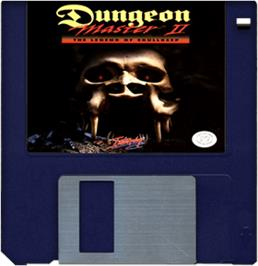 Cartridge artwork for Dungeon Master II: The Legend of Skullkeep on the Commodore Amiga.