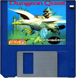 Cartridge artwork for Dungeon Quest on the Commodore Amiga.