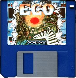 Cartridge artwork for Eco on the Commodore Amiga.