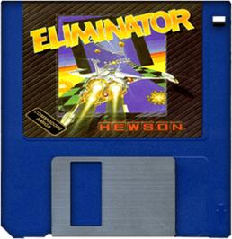 Cartridge artwork for Eliminator on the Commodore Amiga.