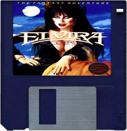 Cartridge artwork for Elvira: Mistress of the Dark on the Commodore Amiga.