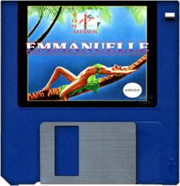 Cartridge artwork for Emmanuelle: A Game of Eroticism on the Commodore Amiga.