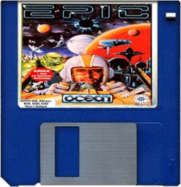 Cartridge artwork for Epic on the Commodore Amiga.