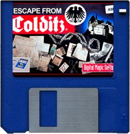 Cartridge artwork for Escape from Colditz on the Commodore Amiga.