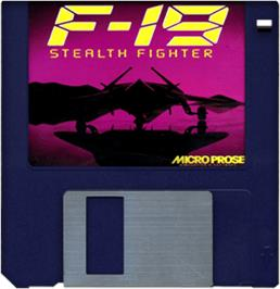Cartridge artwork for F-19 Stealth Fighter on the Commodore Amiga.