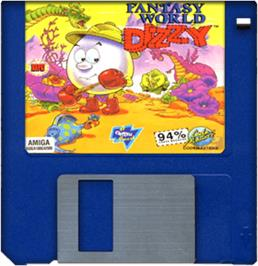 Cartridge artwork for Fantasy World Dizzy on the Commodore Amiga.