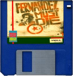 Cartridge artwork for Fernandez Must Die on the Commodore Amiga.