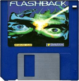 Cartridge artwork for Flashback on the Commodore Amiga.
