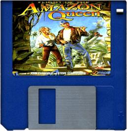 Cartridge artwork for Flight of the Amazon Queen on the Commodore Amiga.