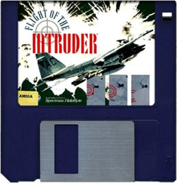 Cartridge artwork for Flight of the Intruder on the Commodore Amiga.